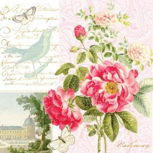 Vintage Birds And Flowers  Decoupage Napkin