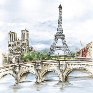 Water Colour In Paris  Decoupage Napkin