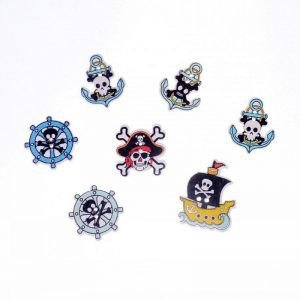 Pirate Theme Wooden Buttons