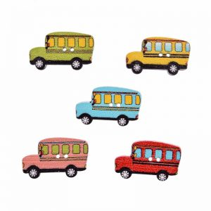 School Bus Wooden Buttons