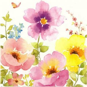 Babypink And Yellow Flower Water Colours Decoupage Napkin