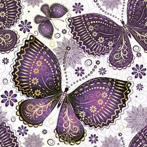Purple Butterflies Decoupage Napkin
