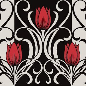 Red Tulip Flower Decoupage Napkin