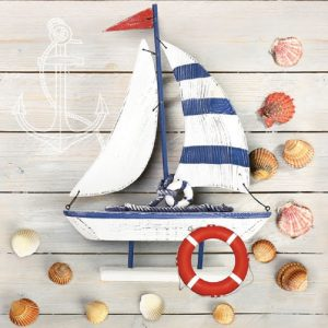 Boat And Shells Decoupage Napkin