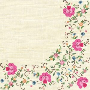 Flower Stitch Frame Decoupage Napkin