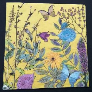 Flowers And Butterfly In Yellow Background Decoupage Napkin