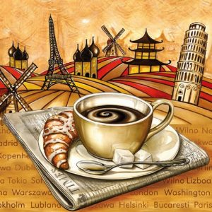 All Over The World Breakfast Decoupage Napkin