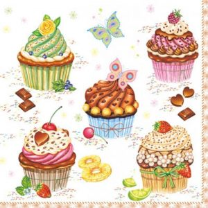 Party Cup Cakes Decoupage Napkin