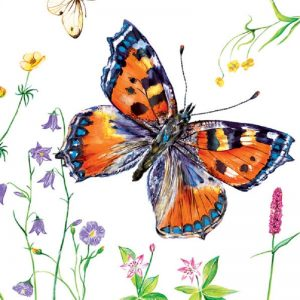 Butterfly With Small Flowers Decoupage Napkin