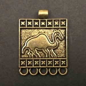 Gold Rectangle With Camel Motif Pendant