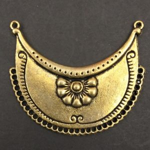 Gold Half Moon With Flower Pendant