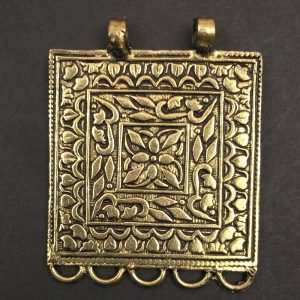 Gold Square With Flowers Pendant