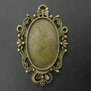 Antique Bronze Oval Pendant Base