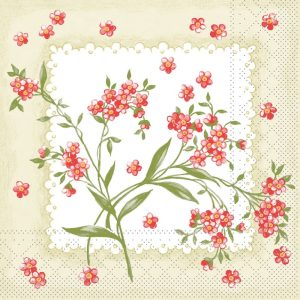 Small Red Flowers Decoupage Napkin