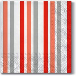 Red & White Stripes Decoupage Napkin