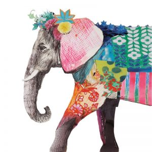 Painted Elephant Decoupage Napkin