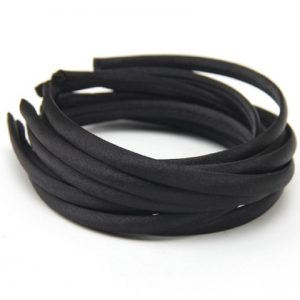 Satin Covered Hair Band Base - Black