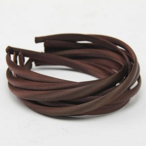 Satin Covered Hair Band Base - Brown