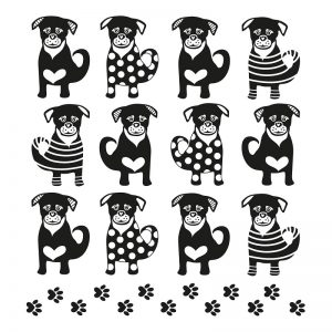 Black & White Dogs Decoupage Napkin