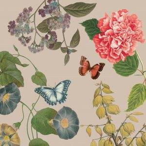 Flowers And Butterfly In Grey Garden Decoupage Napkin