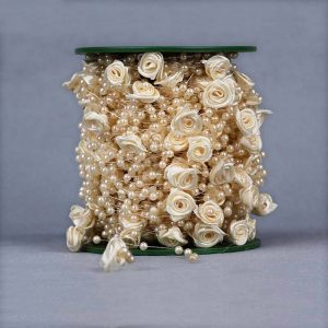 Cream Faux Pearl Beads & Satin Roses String