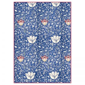 Stamperia Rice Paper - Blue Arabesque With Flowers