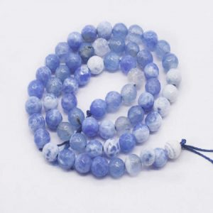 Double Shade  Pale Blue with White Agate Beads