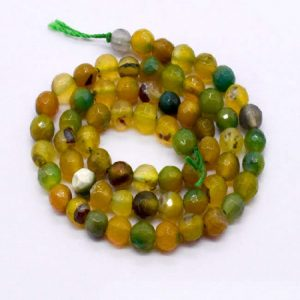 Double Shade Yellow with Green Agate Beads