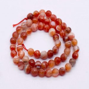 Double Shade Red with Orange  Agate Beads