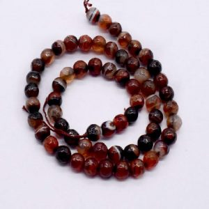 Double Shade Brown with Black  Agate Beads