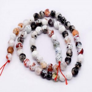 Double Shade White and Black Agate Beads