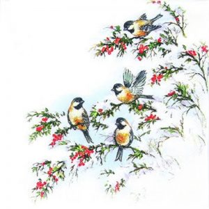 Birds On Cherry Tree Decoupage Napkin