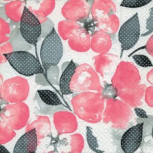 Pink Flower With Black Leafs Decoupage Napkin