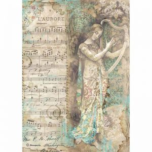 Stamperia Rice Paper -  Music Lady With Harp