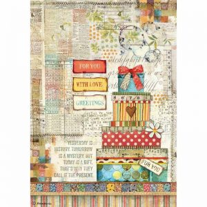 Stamperia Rice Paper - Patchwork Gift