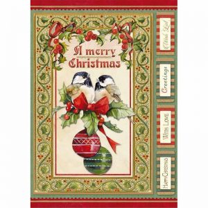 Stamperia Rice Paper - Christmas Vintage Birds And Shperes