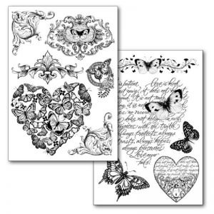 Stamperia Transfer Paper B/W - Hearts, Friezes And Butterflies