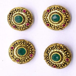 Victorian Beads - Round With Green And Pink Stone