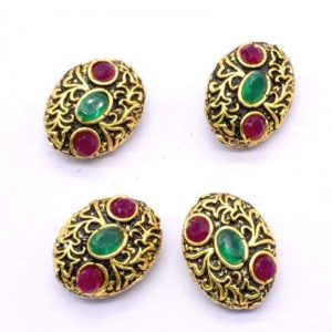 Victorian Beads - Oval With Pink And Green Stone