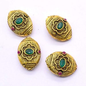 Victorian Beads - Round With Pink And Green Stone