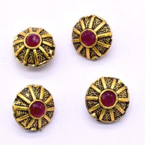 Victorian Beads - Round With Pink Stone