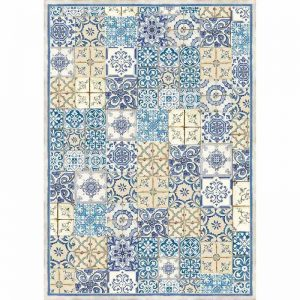 Stamperia Rice Paper -  Blue And Ocher Tile