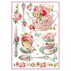 Stamperia Rice Paper - Floral Mugs And Teapots