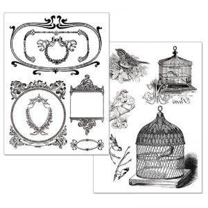 Stamperia Transfer Paper B/W - Cages And Birds