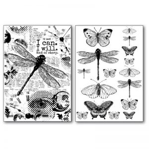 Stamperia Transfer Paper B/W - Dragonfly
