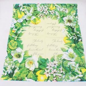 Green Flowers In Yellow Background Decoupage Napkin