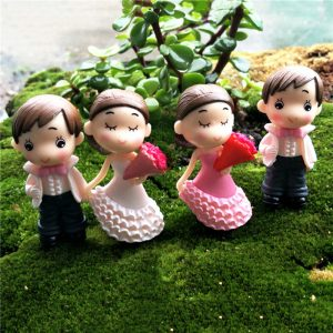 Miniature Cute Bride And Groom