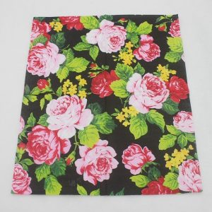 Pink Flowers In Black Background Decoupage Napkin