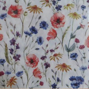 Mixed Colours Small Flowers Decoupage Napkin