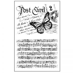 Stamperia HD Natural Rubber Stamp - Post Card and Music